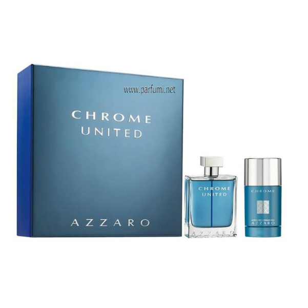 Azzaro Chrome United Комплект за мъже 50ml EDT + 75ml Део Стик