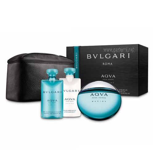 Bvlgari Aqva Marine Set for men-100ml EDT+75SG+75ASB+pouch