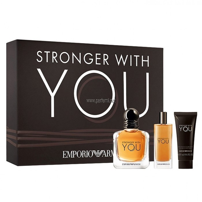 Giorgio Armani Stronger With You Комплект за мъже -100ml EDT+75SG+15ml EDT