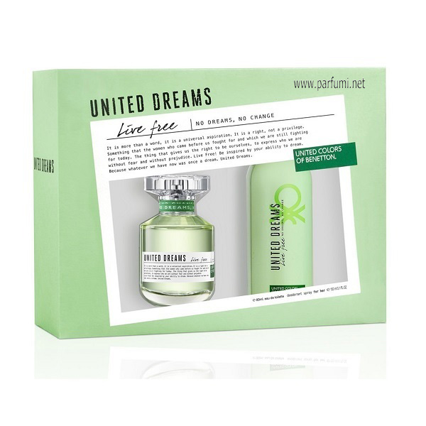 Benetton United Dreams Live Free Комплект за жени - 80ml +150 Део