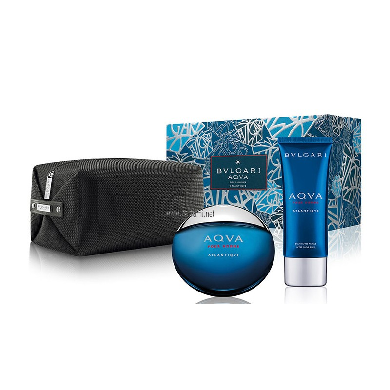 Bvlgari Aqva Atlantiqve set for men- 100ml EDT+75ASB+pouch