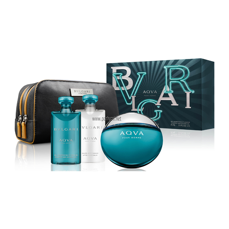 Bvlgari Aqva Gift set for men 100ml EDT+75ASB+75SG+pouch