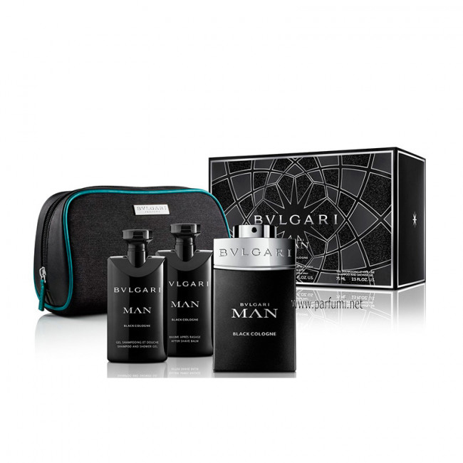 Bvlgari Man Black Cologne Комплект за мъже -100ml EDT+ SG 75ml+ASB 75ml+pouch
