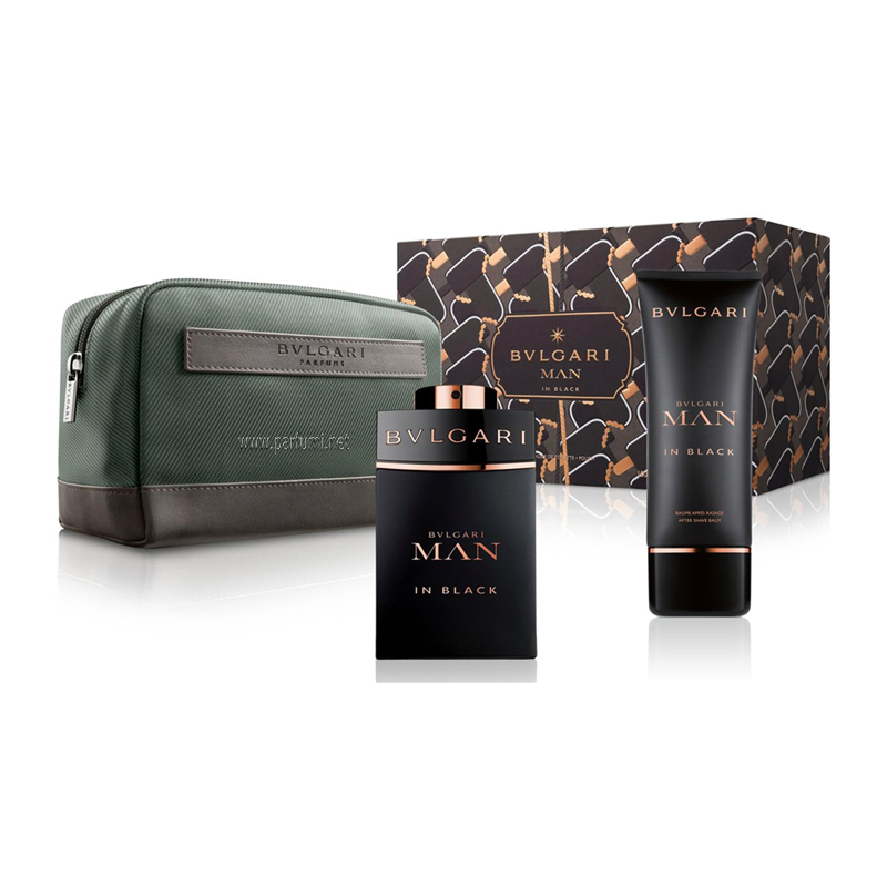 Bvlgari Man In Black Комплект за мъже - 100ml EDP+75ASB+несесер
