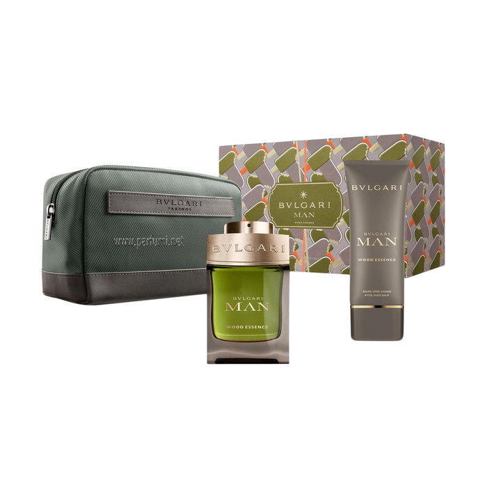 Bvlgari Man Wood Essence Set for men-100ml EDP+100ASB+pouch