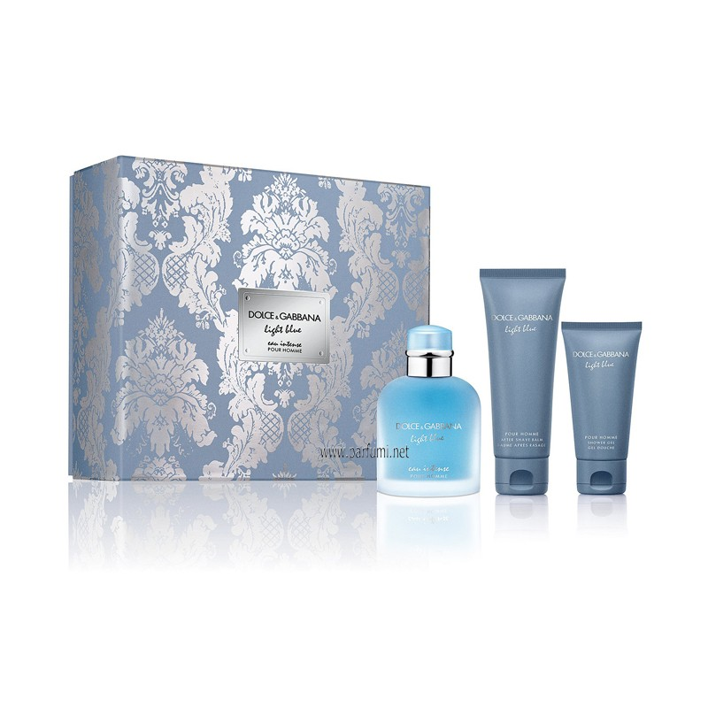 Dolce&Gabbana Light Blue Eau Intense Комплект за мъже-100ml EDP+75ASB+50SG