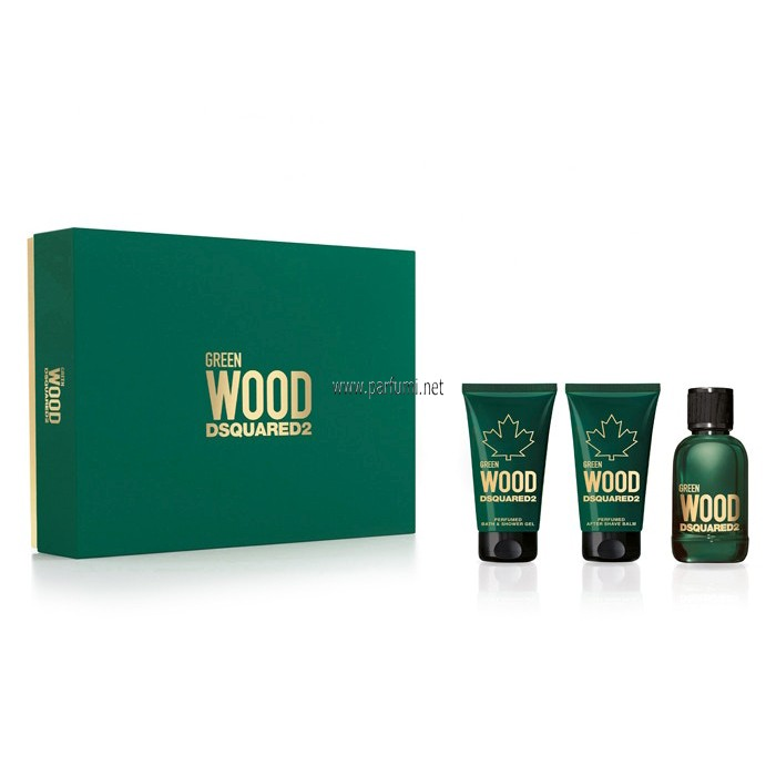 DSQUARED² Green Wood Pour Homme Комплект за мъже -50ml EDT+50ml Душ+50ml ASB