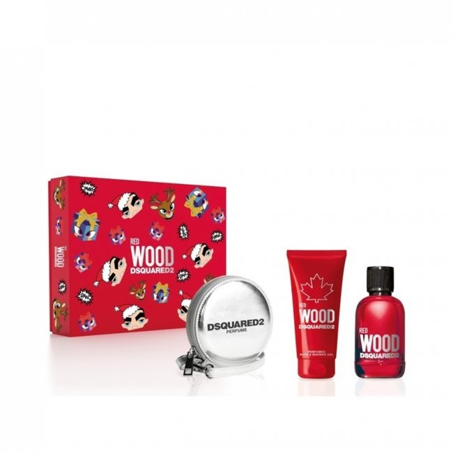 DSQUARED²  Red Wood Set for women-100ml EDT+100ml Shower+wallet