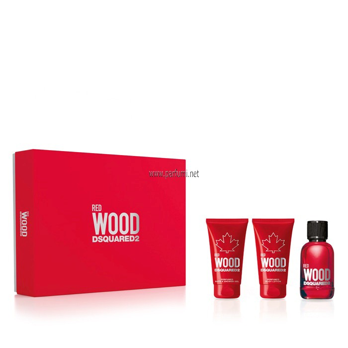 DSQUARED²  Red Wood Set for women-50ml EDT+50ml Shower+50ml Lotion