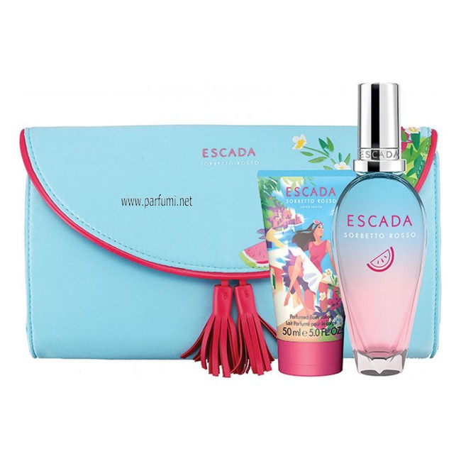 Escada Sorbetto Rosso Set for women - 50ml EDT+50ml SG+pouch