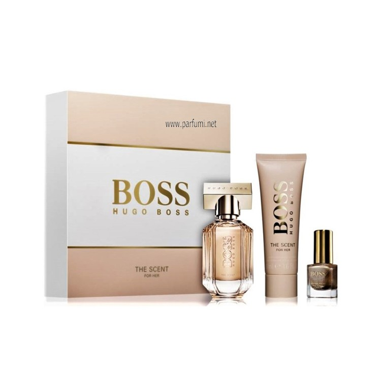 Hugo Boss The Scent  Комплект за жени -30ml EDP+50ml Bl+nail polish 4.5ml